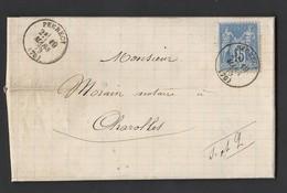 Sage N°90 Sur Lettre De Perrecy TAD Type 16 Du 19/3/1879 Vers Charolles - Marcophilie (Lettres)