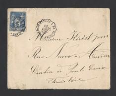 Sage N°90 Sur Enveloppe TAD Ambulant De Salins D' Hyères A La Pauline 30/12/1888 Vers Pont-Croix Finistère - Postmark Collection (Covers)
