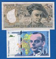 France  2  Billets - 50 F 1976-1992 ''quentin De La Tour''