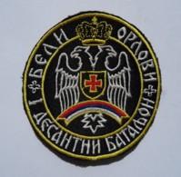 "1991-1995 Bosnian War - Serbian Paramilitary Unit ""White Eagles"" 1st Paratrooper Battalion - Sleeve Patch - Stoffabzeichen"