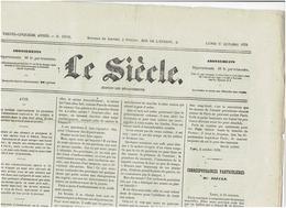 LE SIECLE  Du 17 Octobre 1870 Voyage En Ballon De M KERATY ( Accident) , Les Levées  En Hommes - 1850 - 1899