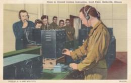 Scott Field Belleville Illinois Army Air Corps Training, Radio Liaison Instructions,1941 Vintage Curteich Linen Postcard - Equipment