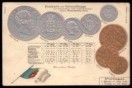 1899 MOEDAS Rei D.Carlos Bandeira MONARQUIA - Postkarte Mit Nationalflagge. Old Postcard Embossed Coins PORTUGAL - Monnaies (représentations)