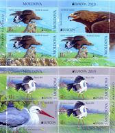 "MOLDAVIA /MOLDOVA /MOLDAWIEN -EUROPA 2019 -NATIONAL BIRDS.-""AVES - BIRDS - VÖGEL -OISEAUX""-  2 BLOCKS De 3+L  Del CARNET - 2019"
