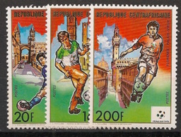 Centrafricaine - 1989 - N°Yv. 823 à 825 - Football World Cup Italia 90 - Neuf Luxe ** / MNH / Postfrisch - Zentralafrik. Republik