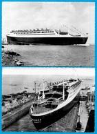 """CPSM PAQUEBOT FRANCE En Construction (Lot De 2) Mai 1960 """"a épousé La Mer"""" """"rentre Par La Cale"""" - Paquebots"""