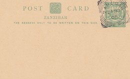 Zanzibar 1905 Post Card Unused With Cancel - Tanzanie (1964-...)