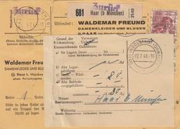 BiZone Paketkarte 1948 Haar N. Ingolstadt, Selbstbucher Damenkleider Rücksendung - Zone AAS