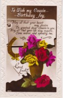 To Wish My Cousin Birthday Joy Vintage Floral PC With Message - Birthday