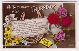 A Thought For Thursday Birthday Vintage Floral PC Posted Jersey With Message, Stamps - Birthday