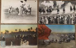 4 CPA, CM ,Fantasia, Afrique Du Nord, Scènes Et Types, Tunisie, Algérie,Maroc - Non Classés