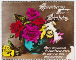 Remembering Your Birthday Vintage Floral PC With Message 1936 - See Notes - Birthday