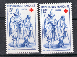 France 1140 Croix Rouge Variété Chiffres évidés Et Normal  Neuf ** TB MNH Sin Charnela - Variétés Et Curiosités