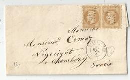 HAUTE SAVOIE N° 28 PAIRE  LETTRE GC  SALLANCHES 22 AVRIL 1868 - Marcophilie (Lettres)