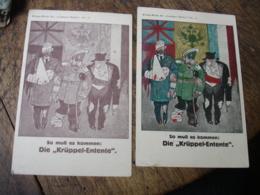 Lot De 2 Carte Propagande Allemande Deutschland  Allies Blesses - Oorlog 1914-18