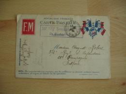 Carte Franchise Postale F M Rouge 4 Drapeaux Francais Rf Coin Droit 50 Eme Regiment Infanterie  Guerre 14.18 - Marcophilie (Lettres)