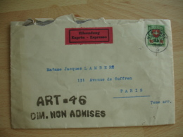 Cachet Art 46 Dim Non Admises Sur Lettre De Suisse Expres  Timbre 90 C Vert Rouge - 1921-1960: Période Moderne