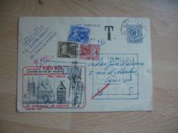 Lettre Taxee 3 Timbres Gerbe Gerbes 20 F 3 F Et 1 F Sur Entier Postal Belgique Publicite Maison Favril Vetement - Lettres Taxées