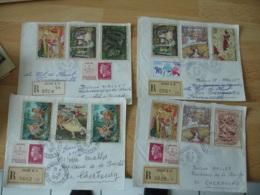 Niort Lot 4 Lettre Recommande Affranchissement Philatelique Timbre Grand Format Tableau - Marcophilie (Lettres)