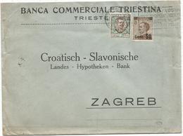 ITALIA 50C+1 LIRA PERFORE PERFIN BCI LETTERA BANCA COMMERCIALE TRIESTINA 1924 TO ZAGREB - 1900-44 Victor Emmanuel III