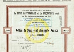 52-JOURNAUX LE PETIT HAUT-MARNAIS Et Le SPECTATEUR Réunis Imprimerie De L'Est - Shareholdings