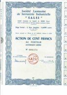"""02-LAONNAISE DE SERRURERIE INDUSTRIELLE """"SALSI"""". LAON. Capital 200 00 F - Hist. Wertpapiere - Nonvaleurs"""