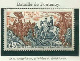 FRANCE - 1970 - BATAILLE DE FONTENOY - YT N° 1657 - TIMBRE NEUF** - Francia