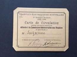 Carte De Circulation Tramways électriques De Montpellier 1903-1904 - Abonnements Hebdomadaires & Mensuels