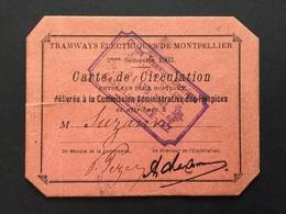 Carte De Circulation Tramways électriques De Montpellier 1903 - Abonnements Hebdomadaires & Mensuels