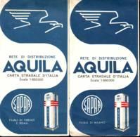 2 Benzina Aquila, Rete Di Distribuzione, Filiali Di Milano-Firenze-Roma 2 Cartine Con Mappe Anni '50 - Roadmaps