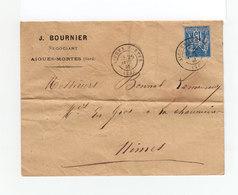 Sur Env. De J. Bournier Négociant CAD Aigues Mortes 1881 Sur Type Sage 15 C. Bleu. (2234x) - Marcofilia (sobres)