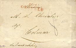 1811- Letter From 103 / CREVELD ( La Roer )  ) 34 Mm Red To Colmar - ...-1849 Vorphilatelie