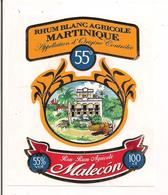 Etiquette Décollée Rhum Blanc Agricole Martinique - 55° - Malecon - La Jonquera, Girona - - Rhum