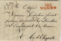 An 10 -- Letter From  103 / MEURS ( La Roer ) 31 Mm Red To Aix La Chapelle - Deutschland
