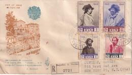 SAN MARINO 1949 FDC RECOMMANDEE AVEC CACHET ARRIVEE NEW YORK - FDC