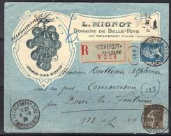 Rochefort S/Loire : Enveloppe Recommandée, Domaine De Belle-Rive, 1926, Au Tarif. - Marcophilie (Lettres)
