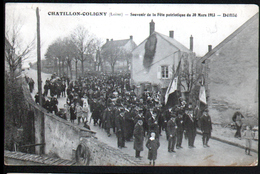 45, Chatillon Coligny, Souvenir De La Fete Patriotique Du 30 Mars 1913, Defile - Chatillon Coligny