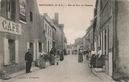 28 Pontgouin Rue Du Pont De L' Aumone Cpa Carte Animée Café Edit Lagoutte - Andere Gemeenten