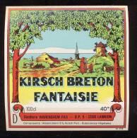 Etiquette De Kirsch Breton Fantaisie  - Distillerie Warenghen Fils  à Lannion  (22)  12.1 X 12. 2cm (Thème Moulin à Vent - Etiquettes