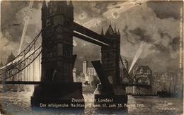 Aviation, Military, World War I., Zeppelin Bombing London,Old Postcard - Dirigibili
