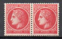 - FRANCE Variété N° 676 ** - 1 F. Rose Type Cérès De Mazelin 1945 - 1 F AU LIEU DE 1 Fr Tenant à Normal - - Errors & Oddities