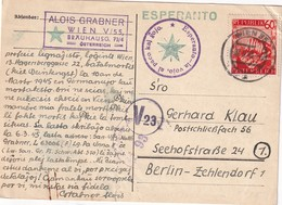 AUTRICHE 1948 CARTE CENSUREE  DE WIEN POUR BERLIN  THEME ESPERANTO - 1945-.... 2ème République