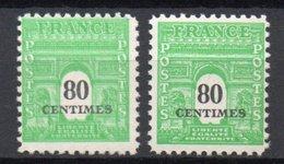 - FRANCE Variété 706b ** - 80 C. Vert-jaune Arc De Triomphe 1945 - IMPRESSION DOUBLE - - Errors & Oddities