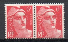 - FRANCE Variété 721Aa ** - 6 F. Rose Carminé Marianne De Gandon 1947 - MÈCHES RELIÉES Tenant à Normal - - Errors & Oddities
