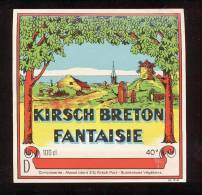 Etiquette De Kirsch Breton Fantaisie- (Distillerie Warenghen Fils  à Lannion)  (22)  12.1 X 12. 2cm (Thème Moulin à Vent - Etiquettes