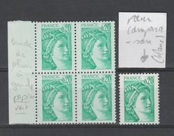 FRANCE / 1978 / Y&T N° 1967a ** : Sabine 20 C émeraude (Bande PHO à G) Sur Papier VERT X 4 Dont 2 BdF G - Curiosities: 1970-79 Mint/hinged