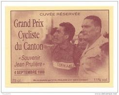 Etiquette De Vin - Cuvée Du Grand Prix Cycliste Du Canton 1988 - Souvenir Jean Prulière - CV A à Chignat (63) - Cyclisme - Ciclismo