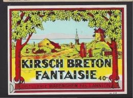 Etiquette  De Kirsch Breton Fantaisie  - Distillerie Warenghen Fils  à Lannion  (22)  9.2 X 12. 2cm (Thème Moulin à Vent - Etiquettes