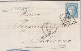 Yvert 60A Cérès  Lettre Entête Crédit Cettois CETTE Hérault 10/4/1872 GC  822 Pour Bordeaux - Marcofilie (Brieven)