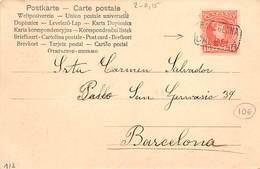 1903.- TARJETA POSTAL ED. Nº 243. MATASELLO CARTERÍA CALELLA - 1889-1931 Reino: Alfonso XIII